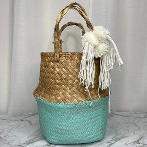 Woven Seagrass Basket Teal Painted Pom Pom Tassel Foldable Boho